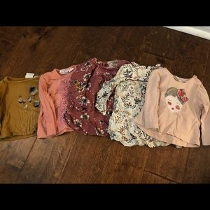Set of 5 girls 3-6mo shirts